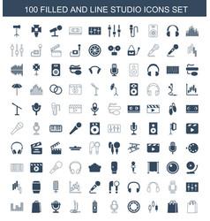 100 studio icons vector image