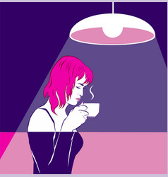 A pink-haired girl sniffing coffee cup near face vector