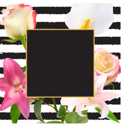 abstract frame with lily and rose flower natural vector image