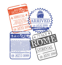 Airplane and ship arrival square stamps of new vector