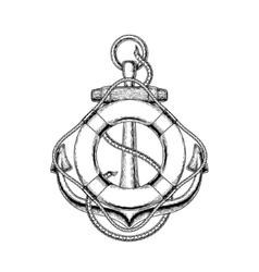 an old nautical anchor vector image