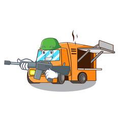 Army rendering cartoon of food truck shape vector