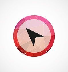 Arrow cursor circle pink triangle background icon vector