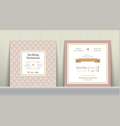 Art Deco Wedding Invitation Card in Gold and Pink vector