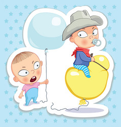Baby and cowboy vector