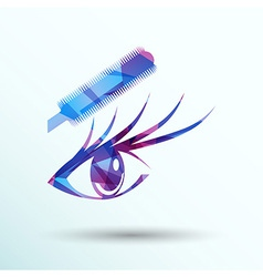 beautiful female blue eye mascara vector image