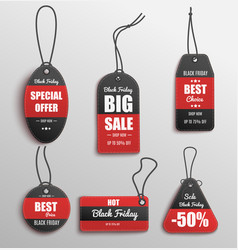 black and red clothing price tag set - big sale vector image