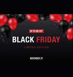 black friday sale banner with shiny red and black vector image