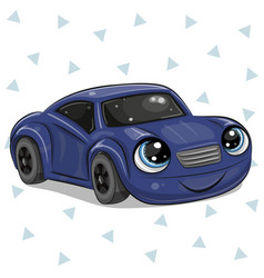 Blue car with eyes on isolated on white background vector