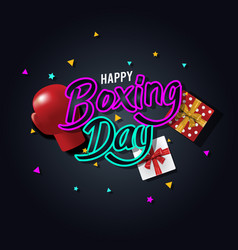 boxing day typography background with glove vector image