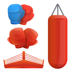 Boxing icons set cartoon style vector