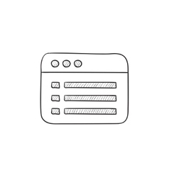Browser window with folder contents sketch icon vector image