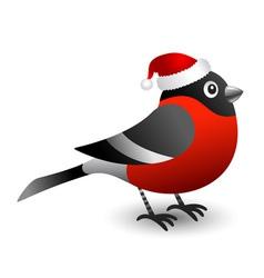 Bullfinch in red hat vector