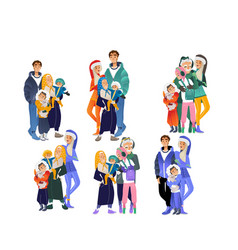 Cartoon big family character hugging winter vector