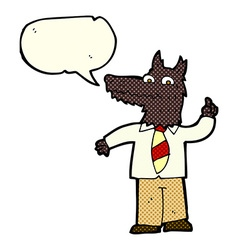cartoon business wolf with idea with speech bubble vector image