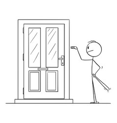 cartoon man with baseball bat ringing door vector image