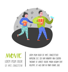 cartoon people with popcorn and movie tickets vector image