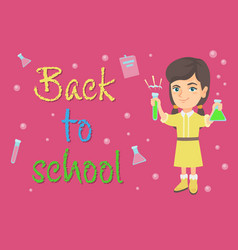 Caucasian schoolgirl holding test tube and beaker vector