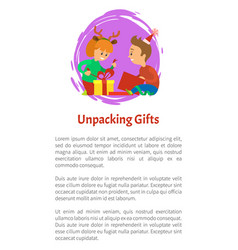 Christmas holidays children unpacking gifts vector