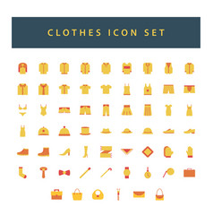 clothes icon set with colorful modern flat style vector image