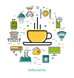 coffee and tea - line art vector image