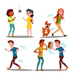color design afraid character people set vector image