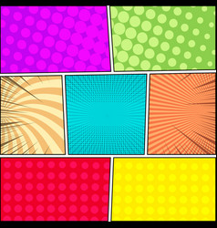 Comic book page backgrounds collection vector