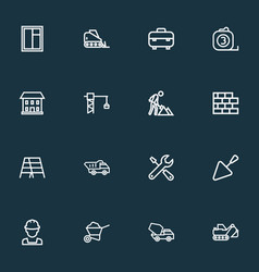 Construction icons line style set with cement vector
