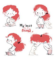 cute cartoon girl with teddy bear vector image