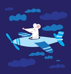 Cute rat pilot in plane flying vector