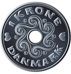 Danish one crone coin vector