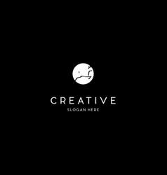 Deer jumping in moon creative modern logo vector