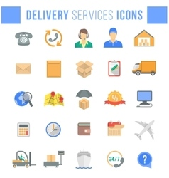 Delivery and logistics services flat web icons vector image