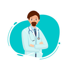 Doctor with glasses on neck of a stethoscope vector