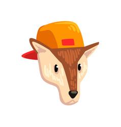 dog wearing baseball cap animal portrait cartoon vector image