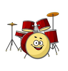 Drum set having a big happy laughing smile vector image