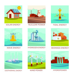 Energy sources power plants and natural resources vector