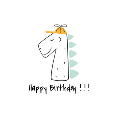 first birthday dino candle card design template vector image