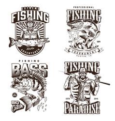 Fishing monochrome vintage prints vector