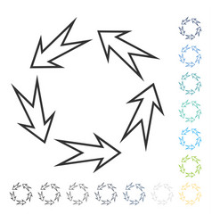 Five recycle arrows icon vector