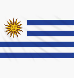 Flag uruguay swaying in wind realistic vector