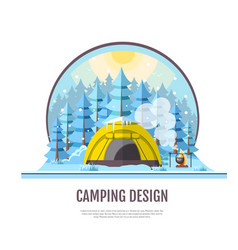 flat style design of winter forest and caming vector image