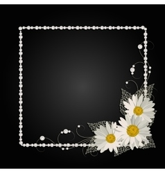 Floral frame with pearls vector image