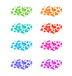 flower colorful decorative elements vector image