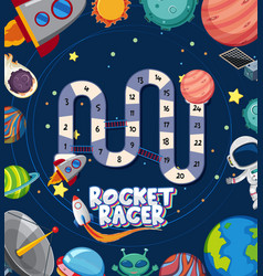 Game template with alien and solar system in vector