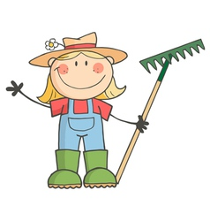 Gardening Girl Waving A Greeting vector image