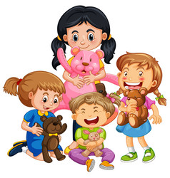 group young children cartoon character on vector image