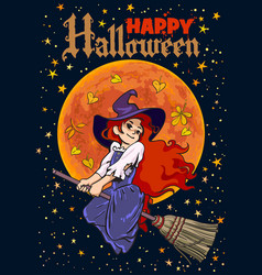 Halloween poster cartoon young witch flying vector