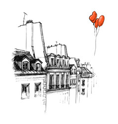 hand drawn the roof of paris roof urban sketch vector image