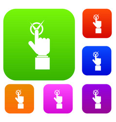 hand finger pressing button with tick set color vector image